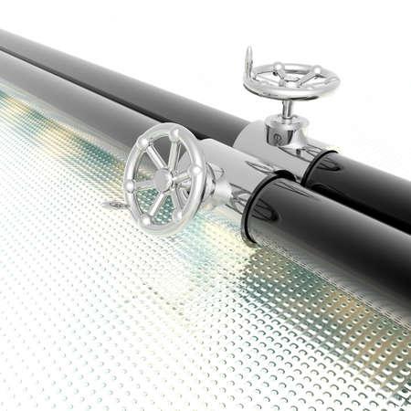 bright metallic tubes with hand crank valve photo