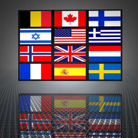 video wall: video wall with flags on the screens