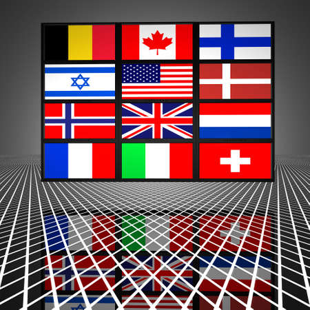 video wall with flags on the screens Stock Photo - 4865889