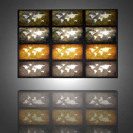 video wall with old world maps on the screens Stock Photo - 4865883
