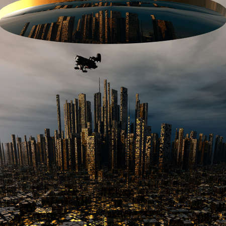 3d alien UFO space ship photo