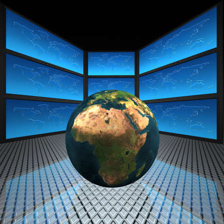 video wall with screens, world Stock Photo - 5750667