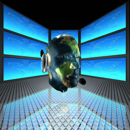 cyber man, robots head with screens in background Stock Photo - 5750663