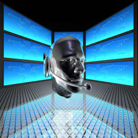 cyber man, robots head with screens in background Stock Photo - 5750660