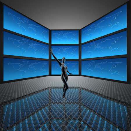 video wall with screens, world map Stock Photo - 5750651