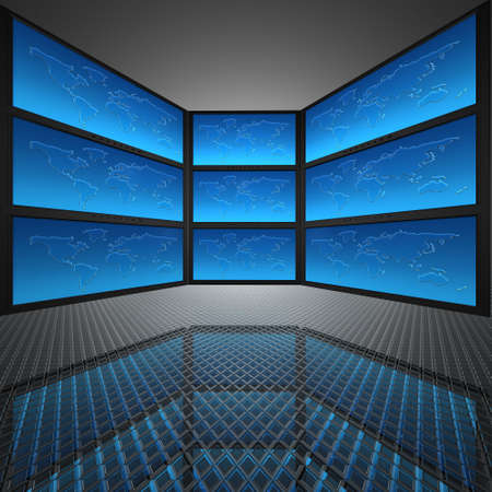video wall with screens, world map Stock Photo - 5750668