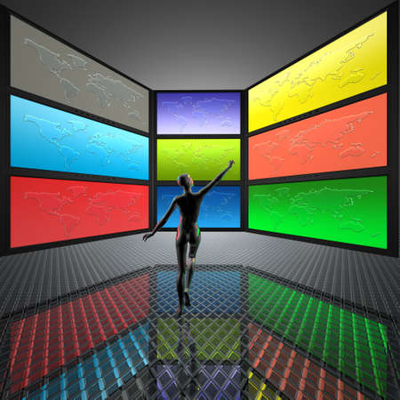 video wall with screens, world map Stock Photo - 5750664