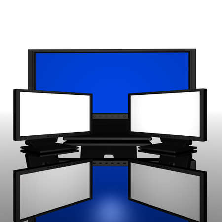 computer monitors with reflected background Stock Photo - 5891686
