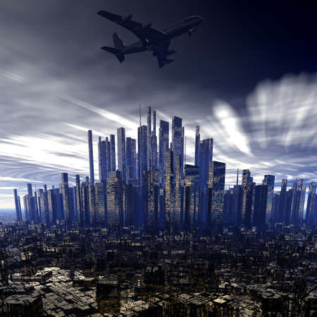 airliner above night city photo