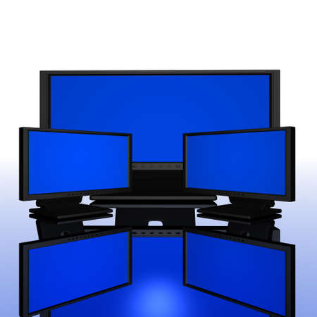 computer monitors with reflected background Stock Photo - 5895195