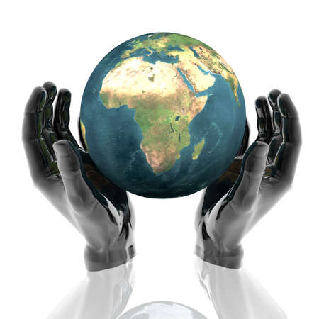 hands with earth with reflection