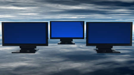computer monitors with reflected background Stock Photo - 5943958