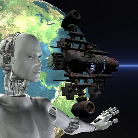 android, cybernetic intelligence machine in 3d Stock Photo - 5943918