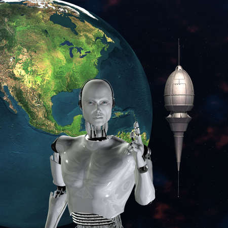 android, cybernetic intelligence machine in 3d Stock Photo - 5943940