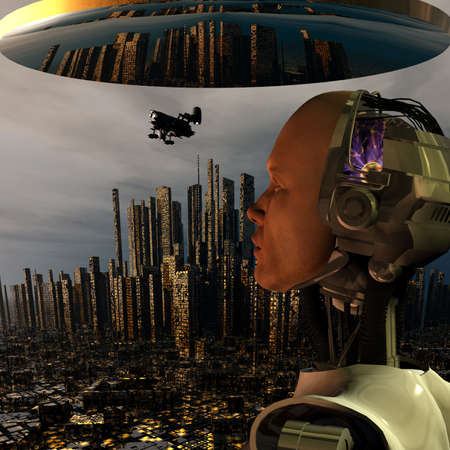 android, cybernetic intelligence machine in 3d Stock Photo - 5943960