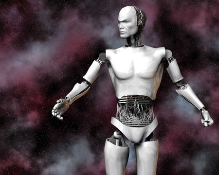 android, cybernetic intelligence machine in 3d Stock Photo - 5943925