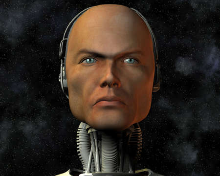 android, cybernetic intelligence machine in 3d Stock Photo - 5943915