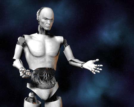 machine de renseignement Android, cybernétique en 3d Banque d'images
