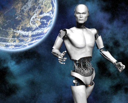 android, cybernetic intelligence machine in 3d Stock Photo - 5943965