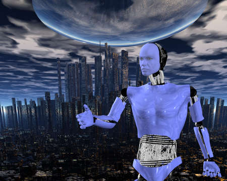 android, cybernetic intelligence machine in 3d Stock Photo - 5943959