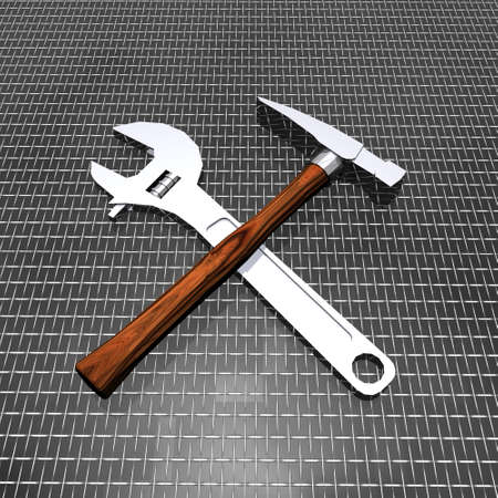 tools set on grid background photo
