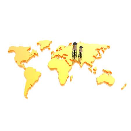 drilling platform: world map with  Drilling Platform in 3d