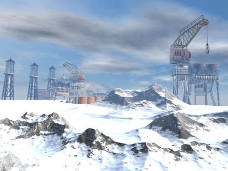 Drilling Platform in winter landscape in 3d photo
