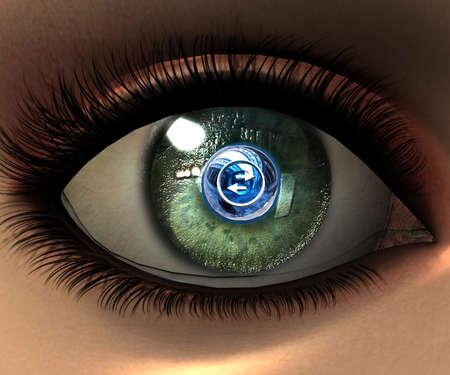 parpados: ojo de ni�a hermosa en 3D con flechas en el globo ocular