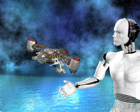 android, cybernetic intelligence machine in 3d photo