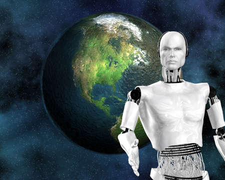 android, cybernetic intelligence machine in 3d Stock Photo - 5995503