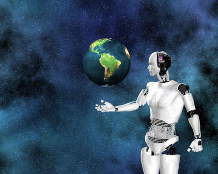 android, cybernetic intelligence machine in 3d Stock Photo - 5995507