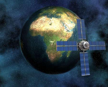 unreal unknown: Sputnik satellitare in orbita intorno alla terra in 3d  Archivio Fotografico