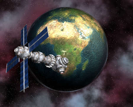 unreal unknown: Sputnik satellitare che orbita intorno alla terra in 3d