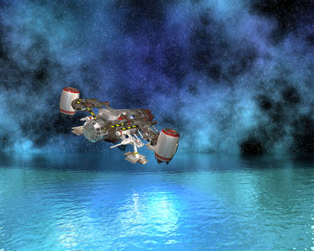 space ship above the water in 3d Stock Photo