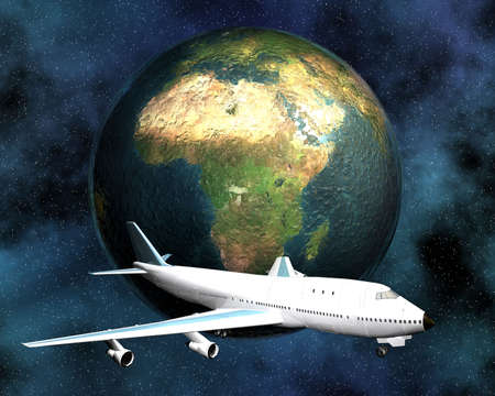 airliner with a globe in the background, 3d photo