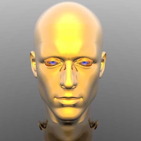 mental object: cabeza de hombres de ciber con textura  Foto de archivo