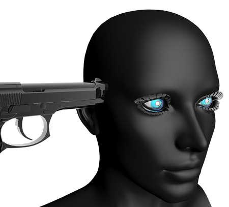 black cyber girl portrait with gun photo