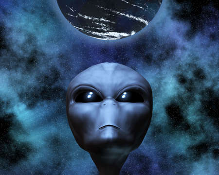 startrek: alien portrait with stars in background Stock Photo