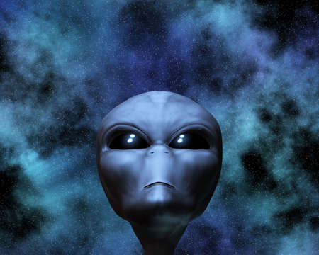 ufo: alien portrait with stars in background Stock Photo
