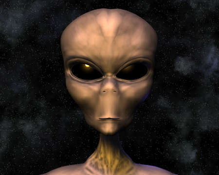 sci: alien portrait with stars in background Stock Photo
