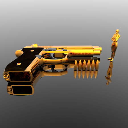 gold cyber girl with gun photo