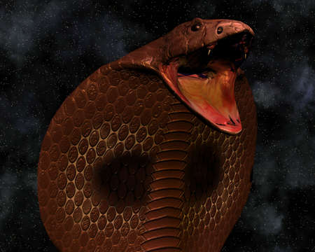 forked tongue: snake cobra in 3D with stars in background