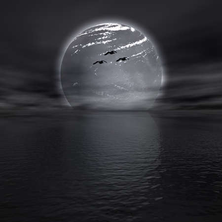moon in the sea Stock Photo - 6306401