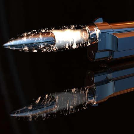 gun with flying bullet on dark background Stock Photo