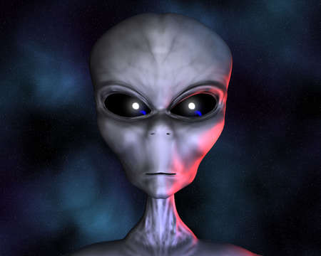 roswell: alien portrait with stars in background Stock Photo