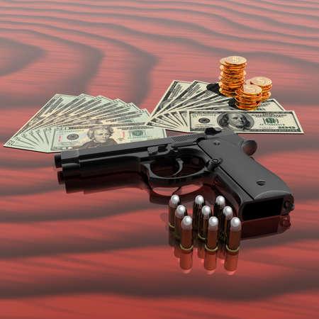 gun shell: ca��n, d�lares, monedas y vi�etas en la tabla