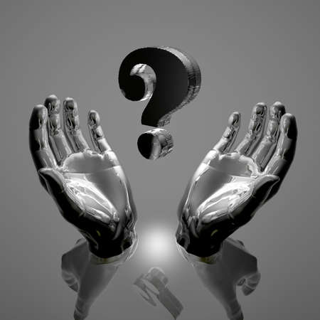 grey question mark in a hands Stock Photo - 6380313