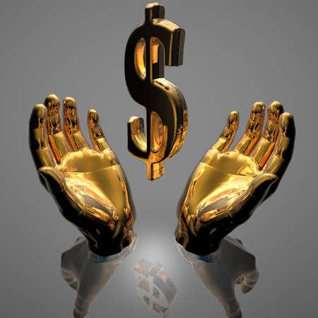 cash in hand: manos con un signo de d�lar dorado