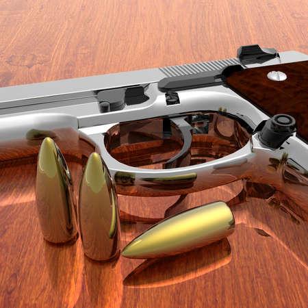 gun shell: pistola con balas en la tabla