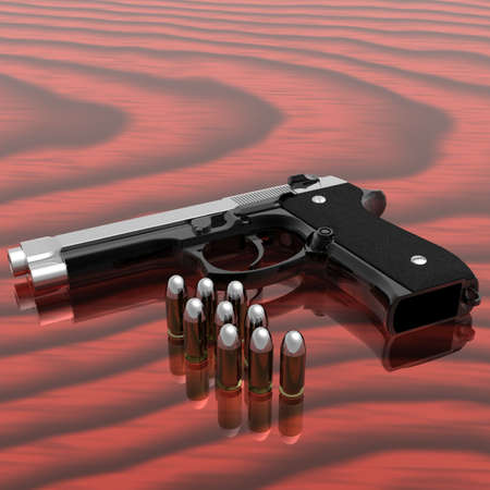gun shell: gun with bullets on the table